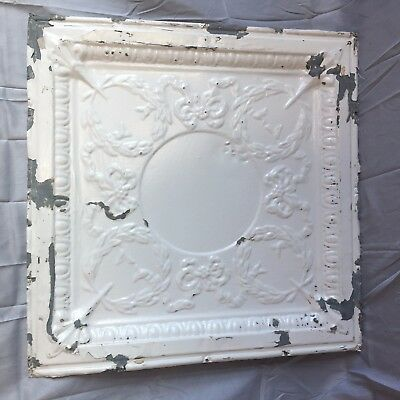 "Antique 24"" Tin Ceiling Tile Panel Vtg Shabby wreaths Metal 2' x 2' Chic 146-17J"