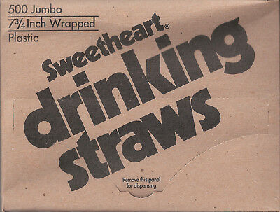 Sweetheart Jumbo Wrapped Clear Poly Drinking Soda Straws 7.75 inch - 500 ct. Box