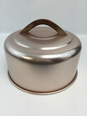 """Mirro Aluminum Copper Top Round Lid Only Cake Cover Wood Handle 10.25"""" Inside"""