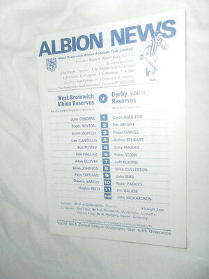 1969/70 Wba West Brom Res V Derby County Res