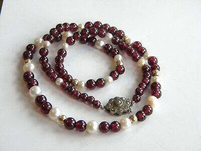 vintage GARNET & cultured pearls beads necklace silver clasp restringed