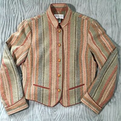 Vtg 70s Bobbie Brooks Womens M Blazer Jacket Wool Blend Tweed Multi Stripe Lined