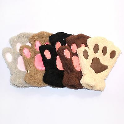 Cute Winter Warm Gloves Plush Mittens Half Finger Short Fingerless Cat Claw Paw