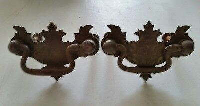 2 MATCHING small  vintage old  metal   decorative  pulls drawer handles  (112D)