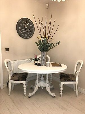 Rare Ornate French Dining / Breakfast Table w/ 4 X Balloon Back Chairs off White