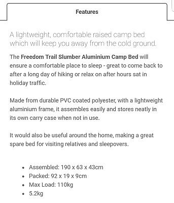 Freedom trail slumber camp bed- aluminium