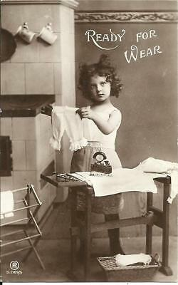 Little Girl Doing Ironing (Real Photographic Sepia Postcard) 1907