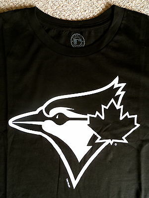 S or M BLUE JAYS Jet Black White OFFICIAL MLB Baseball T Shirt Cotton Toronto