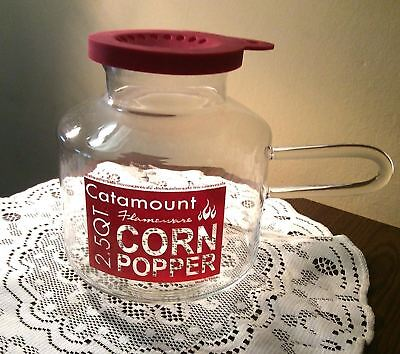 NEW Catamount Popcorn popper 2.5 Quart maker glass red logo butter warmer