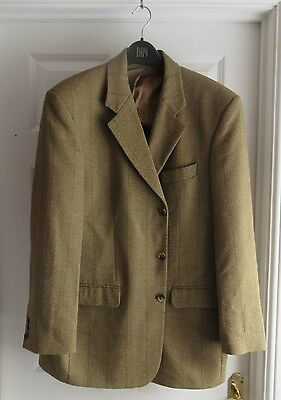 retro M&S mens pure wool & cashmere tweed sporting races country jacket 42ins .