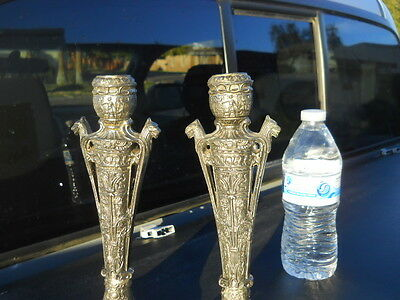 "Pair of VINTAGE ORNATE EGYPTIAN ? Pewter ? CANDLE HOLDERS 9 1/2"" tall"