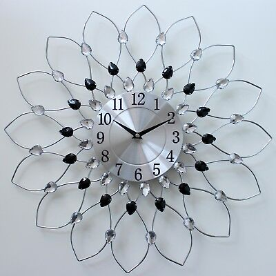 50Cm Clear Black Diamante Beaded Jeweled Sunflower Metal Spiked Wall Clock 159