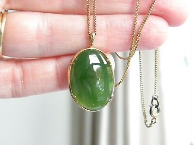 vintage real JADE stone gold on silver 925 setting completed with chian