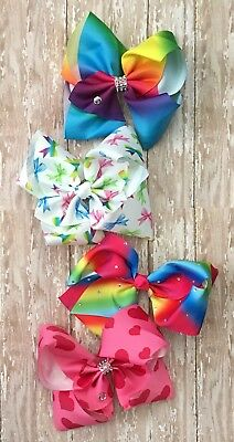 BACKORDER- Ships 11/1/2017 4 NEW Big 8 inch Jojo style bow - Sequin Hair Bow Lot