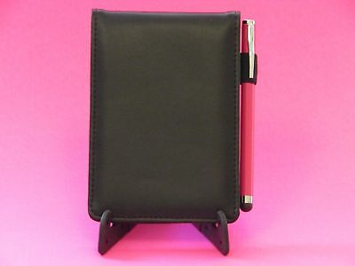 "Black jotter note pad 3.5""x5"" w/ 2 slot card holder & pink mini pen stylus combo"