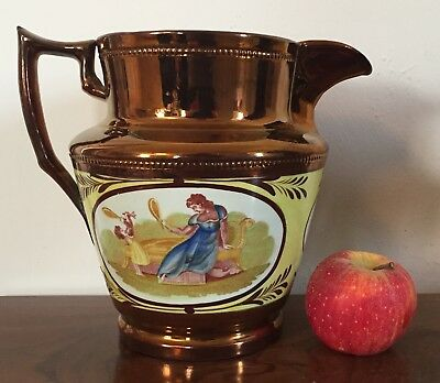 Big Staffordshire Jug Pitcher Copper Luster Canary Yellow Adam Buck 19th century