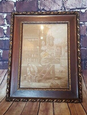 Antique Victorian Vintage Wooden Framed Tapestry Needle Work Embroidery