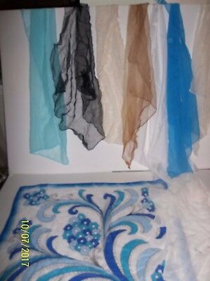 Lot of 8 Vintage/Retro Assorted Sheer &  Nylon Scarves Square  & Rectangle