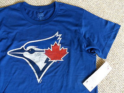 L or XL BLUE JAYS LOGO NAVY OFFICIAL MLB Baseball T Shirt Cotton Blue Toronto