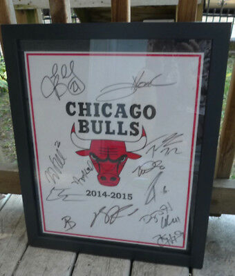 Chicago Bulls Team Framed Autographed Pennant  2014-2015