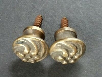 "Pair (2) Sm.solid Brass Floral Stacking Barrister Bookcase 5/8"" Knobs Pulls #K14"
