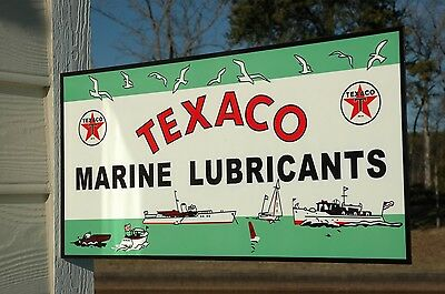Old Style Texaco Motor Oil Gasoline Marine Outboard Flange Steel Sign Usa Made!
