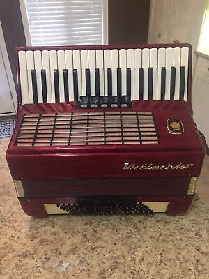 Weltmeister Stella Red Accordion, 96 Bass, 37 Treble, (Germany)