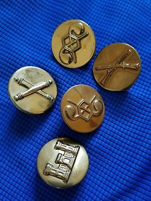 Vintage Lot Of 5 Wwii Us Army Enlisted Insignia Collar Disks - Hollow Backs Pins