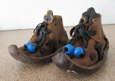 Vintage Leather Doll Shoes Two Tone With Laces Bead Tribal Foreign Shoe Lace Up