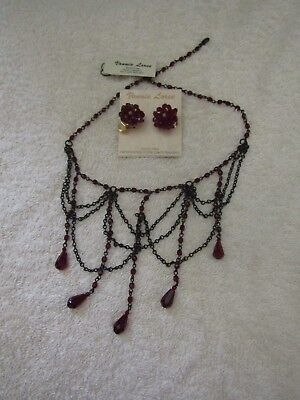 Rare Vonnie Loree Antique Vintage Victorian/Gothic Necklace and Earrings Set