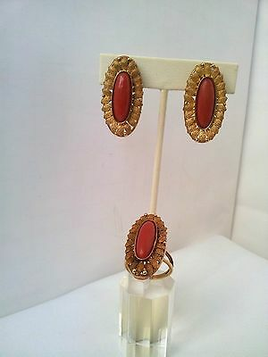 Antique 18K Rose Gold and natural Coral No dye or treatment Earing and Ring Set