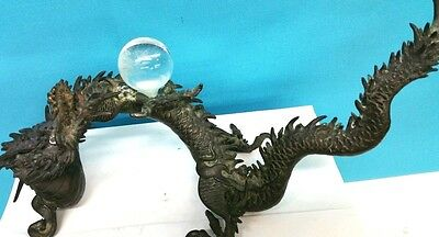 Antique Japanese Bronze Dragon Statue With Crystal Ball 14 Inches 19 Century