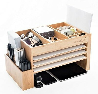 The Space Cube Wood Desk Organiser Docking/Bamboo Kitchen & Charging Station