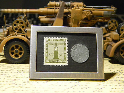WW2 Rare German 1 Rp Coin Big War Eagle Stamp in Secure Metal Disp Frame