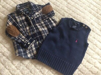 RALPH LAUREN Shirt & Knited Vest Top 18-24 months