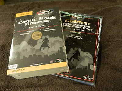 100 New BCW Golden Age Resealable Comic Book Bags And Boards - Acid Free - Archi