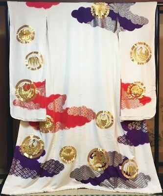 SUPERB Japanese GEISHA Kakeshita/Wedding Kimono Ivory Silk 'Embroidery Roundels'
