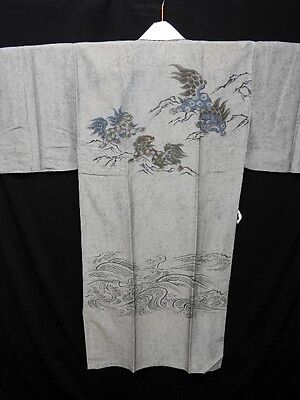 Vintage Men's Japanese Grey 'Shi-Shi Lions' Nagajuban/Kimono/Robe Washable S/M