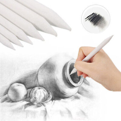 6PC White Art Charcoal Drawing Pencil Sketch Short Writing School Stationery Pen