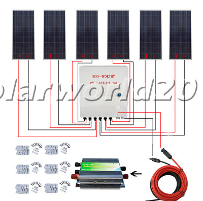 900W off Grid Solar System 6x 160W Solar Panel Charge 12V Home Battery Power RV