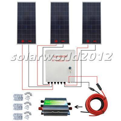 500W Solar System 3x 160W Solar Panel Charge 12V Home Boat Camp Power Charge RV
