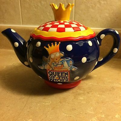 "Rare MARY ENGELBREIT Teapot ""Queen of the Kitchen"" 1999 Full Size"