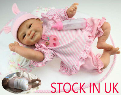 "STOCK IN IT 18"" Soft Silicone Doll Baby Lifelike Reborn Baby Playmate Bambole"
