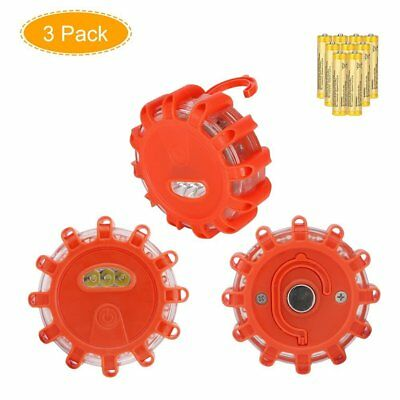 3 Pack Coquimbo LED Road Flares Emergency Disc Roadside Safety Flare Lights