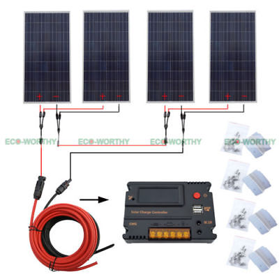 600W Solar System 4x 150W Solar Panel off Grid 12V System Charge Home Boat RV