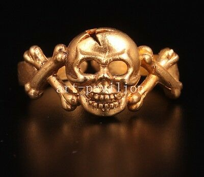 Brass Skull Pirate Captain Statue Ring Collectable Decoration Handwork