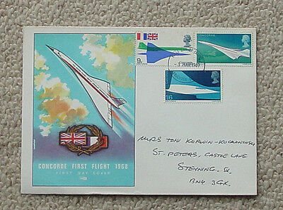 CONCORDE 1st DAY COVER, FIRST FLIGHT 1968 with three stamps