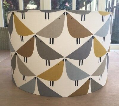 Handmade Lampshade Scion Lintu Geometric Birds Retro Dandelion Yellow Blue Grey