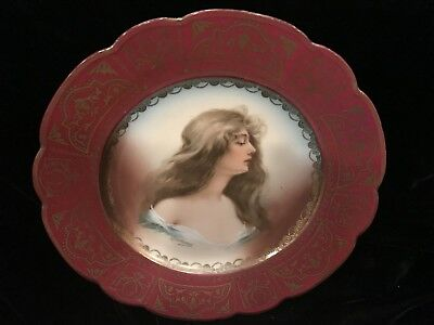Antique Signed Austria Portrait Plate Hand Painted Victorian Women Red & Gold