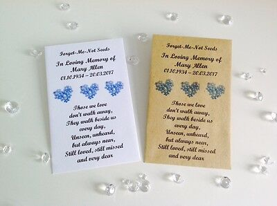 10 Personalised Forget Me Not Seed Favour Packets Envelopes Funeral Memorial